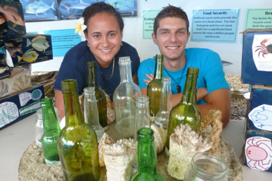 Bottles used for artificial reef structure