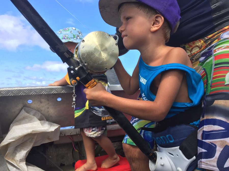 Young brothers super-keen on fishing