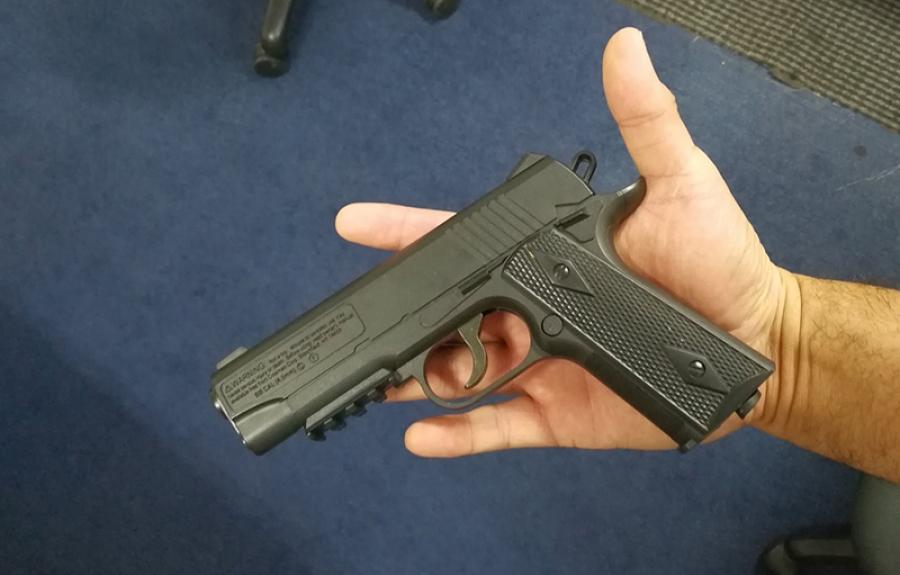 Handgun seized at scene of 'domestic'