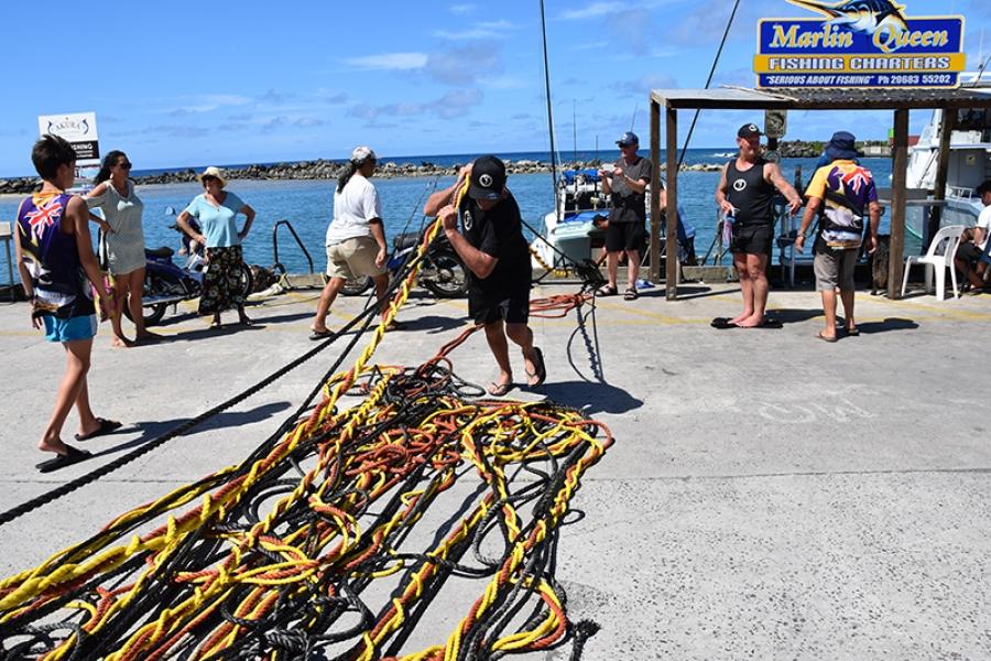 Mahi mahi, tuna and a bundle of rope