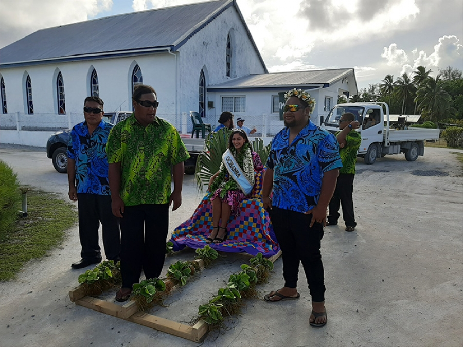 Miss Oceania returns home to her island – and her grandma