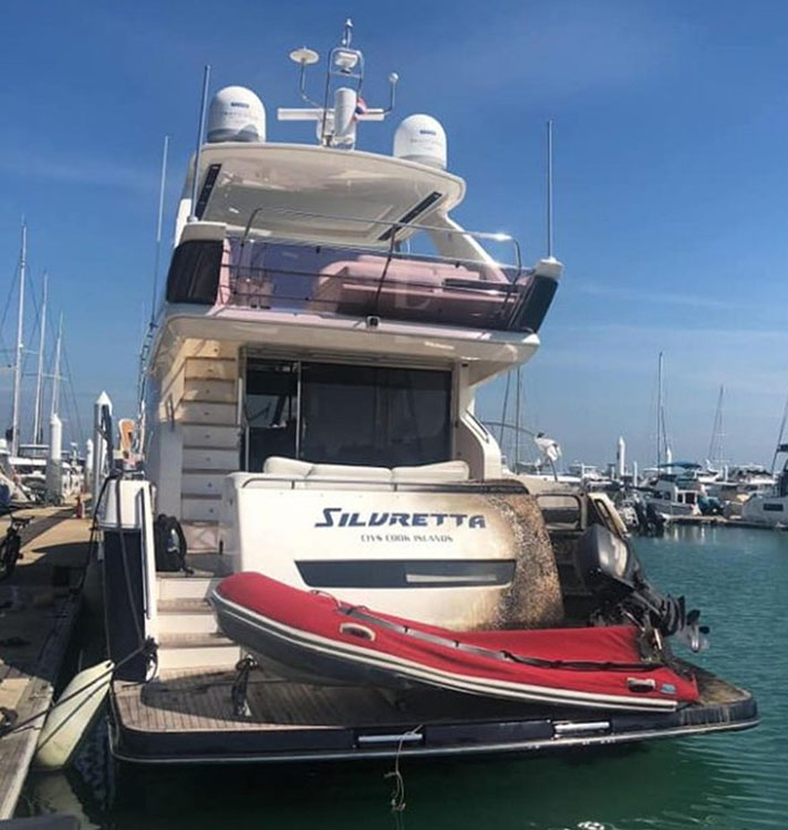 Cooks registered  luxury yacht destroyed in fire