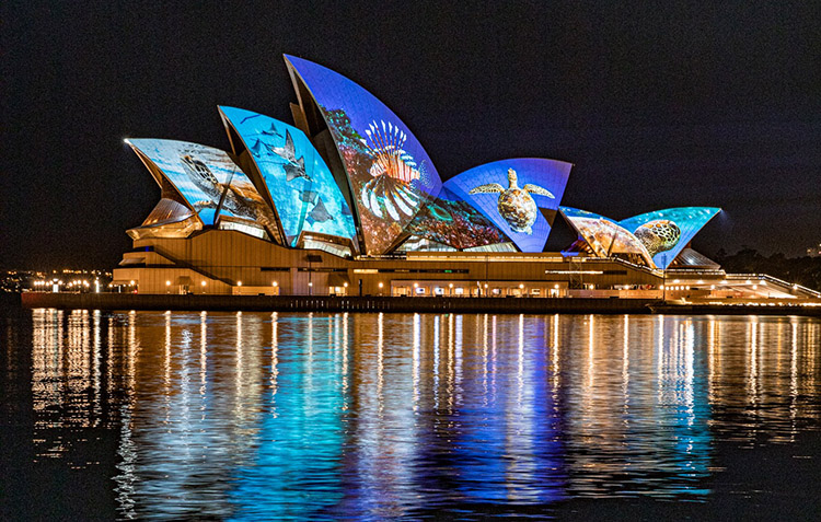Sydney Opera House lit with Piho's photography to mark Oceans Day